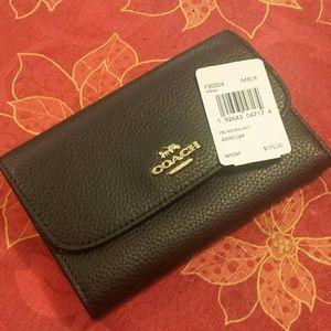Coach Pebble Leather Medium Envelope Wallet NWT